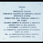 Lapide in memoria di Empedocle Gaglio e premio